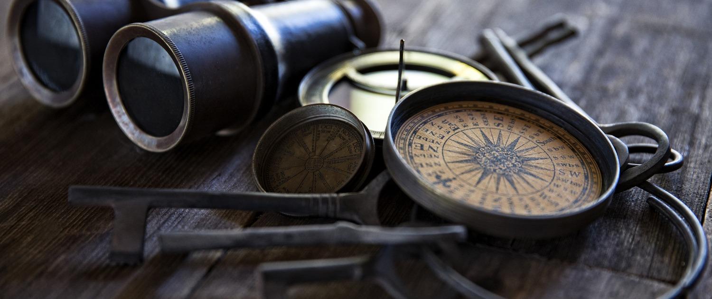 Antique Compasses Keys and Binoculars